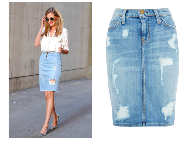 Faded Denim Skirt